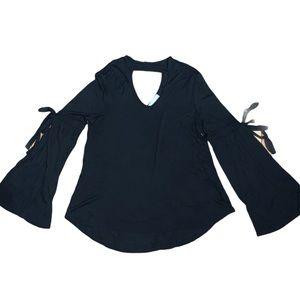 Olive + Oak Women's Black Cutout Top Size Small